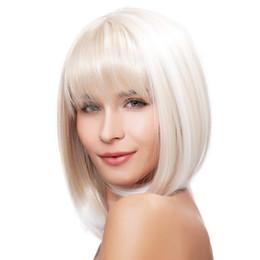 Spedizione gratuita Short Bob Ash Parrucche bionde con frangia Parrucca  sintetica resistente al calore per le donne bianche 8717777ac93e