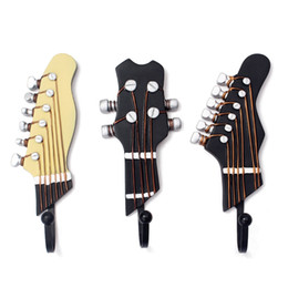Wholesale guitar clothes - 3 PCS Set New Guitar Heads Music Resin Clothes Hat Bag Hanger Wall Mounted Hook Home Decor