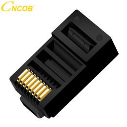 cable rj 45 ethernet Rebajas cncob Cat5E 8P8C Conector de cable Ethernet modular Conector de cristal Crimp Network RJ 45 Conector negro 30pcs