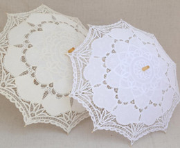 Wholesale Bridal Party Umbrellas - White Wedding Lace Parasol Umbrella Victorian Lady Costume Accessory Bridal Party Decoration Photo Props free shipping
