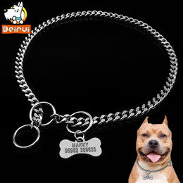 Wholesale Metal Train Sets - Dog Training Collar and Personalized Dogs Tag Set Snake P Slip Choke Collar Metal Chain For Medium Large Pets