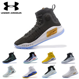 Wholesale blue curry - Wholesale UA Stephen Curry 4 men basketball shoes Gold Championship MVP Finals Sports Sneakers trainers outdoor designer shoes
