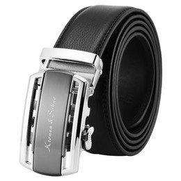 мужская стальная лента Скидка  New High Quality Black Silver Steel Auto Buckle Business Dress Belt Gift Box Package Genuine Leather Men Male Belts /KB110