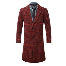 Wholesale Men Coats Checked - New Year's advocate! Foreign trade hot selling men's windbreaker foreign trade long check wool coat N87-P80 red flat.