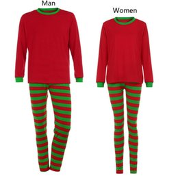 Wholesale woman s christmas pajamas - 2017 Woman Man Family Matching Christmas Pajamas Set Green Red Striped Blouse +Pants pyjamas women nightwear winter fall