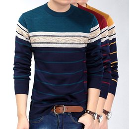 Wholesale Purple Striped Sweater - 2017 Fashion Casual Clothing Social Fitness Bodybuilding Striped T Shirts Men T -Shirt Jersey Tee Shirt Pullover Sweater Camisa