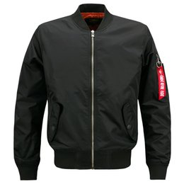 Wholesale Green Waist Coat - spring autumn men's coat wholesale outwear left sleeve zipper Ma 1 bomber jacket