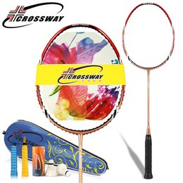 Wholesale Racquet Stringing - CROSSWAY 1PC hot selling carbon badminton racket with string and overgrip Durable Speed Badminton Racket Battledore Racquet sk70