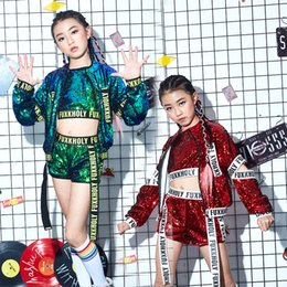 Wholesale girl suit dance costume - girls students modern dancewears fille blue sequined Harajuku jazz costumes stage competition performance clothing meisje street dance suits