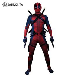 (Ropa + Equipo) Disfraz de Deadpool Hombre adulto Cosplay Disfraces de Deadpool Wade Wilson Spandex Lycra Body de nylon Zentai Hallowee desde fabricantes