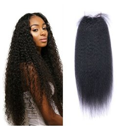 Wholesale Indian Hair Smooth - Brazilian Kinky Straight Human Hair Kinky Straight 4 x4 Lace Closure With Baby Hair Very Smooth