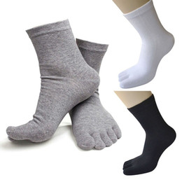 Носки онлайн-Summer Breathable Men's Cotton Toe Socks Pure Sports Basketball Five Finger Socks Black White 10 pair/lot