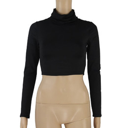 Wholesale Turtleneck Tee Shirts - 2018 Turtleneck Bottoming Shirt Women Solid Long Sleeve T-shirt Slim Fit Short Style Sexy Ladies Tops Tees