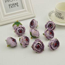 Süßigkeiten kopf zubehör online-4 cm 100 stücke kleine Tee Knospe Künstliche blumen günstige silk rose köpfe Startseite hochzeit dekoration diy Kranz zubehör Süßigkeiten geschenkbox