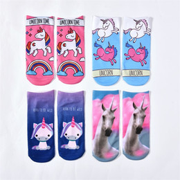 2019 stampa digitale 3d 3D Digital Printing Socks Classic Cartoon Unicorn Lucky Short Sock Moda popolare Abbigliamento Accessori di alta qualità 2 2ds Ww stampa digitale 3d economici