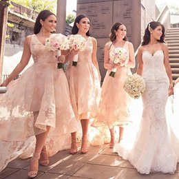 Wholesale High Low Style Prom Dresses - Fashion High-Low Style Bridesmaids Dresses V-Neck Lace Applique Sleeveless Tulle Wedding Party Dress Sexy See Through Tulle Prom Dresses