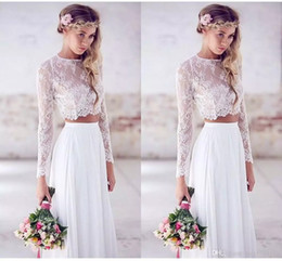 Wholesale custom crops - 2017 Spring Summer Simple Two Pieces Beach Wedding Dresses Lace Crop Top Chiffon Ruched Floor Length Long Sleeves Bohemian Bridal Gowns