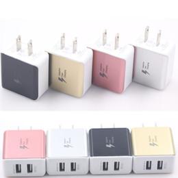 Двойной USB зарядное устройство дома адаптер переменного тока универсальный 5V / 2.1 A для iphoneX 8 7/6/5 samsung s7 s6 note4 4 цвета синий вспышка света Марк США штекер от
