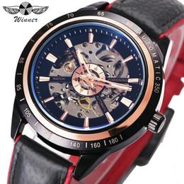 O vencedor assiste vermelho on-line-VENCEDOR Design Da Motocicleta Transparente Genuine Red Black Belt Esqueleto À Prova D 'Água Homens Relógios Automáticos Top Marca de Luxo Clcok