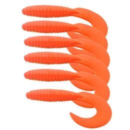 Caudas de lâminas de pesca em plástico macio on-line-HONOREAL 6.5 CM Isca Artificial Isca De Pesca Macia 6 PCS Atacado iscas de Plástico Macio Grub Worms curly cauda cores misturadas