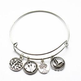 Wholesale Flexible Heart - Alex women 63 65mm Heart anchor trees mixed design flexible bangles adjustable cuff bracelet classic jewelry