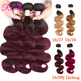 indain human hair Promo Codes - Rcmei Hair Extension Ombre Indain Hair Weave Bundles Two Tone 1B Burgundy 99J 30 27 Body Wave Human Hair Bundles 3PC Remy