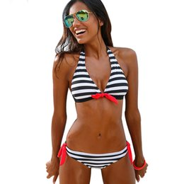 Wholesale Bikini Brazillian - Sexy Bikini Women 2018 Swimsuit Swimwear Halter Top Plaid Brazillian Bikini Set Bathing Suit ladies Summer Beach Wear Biquini