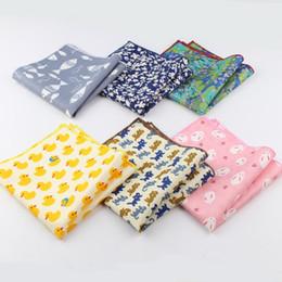 Wholesale Fish Rabbit - Men's Sunny Style Cotton Handkerchief Tartan Strip Duck Fish Rabbit Cat Pocket Square Hankies Towel Casual 23*23cm