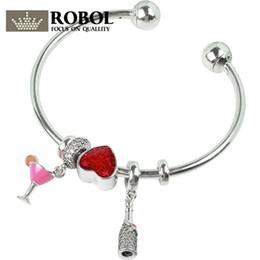 Стерлинговое вино онлайн-ROBOL 100% 925 Sterling Silver  New Authentic Wine Red Love Charm Hand Ladies Fashion Heart Love Opening Bracelet Set