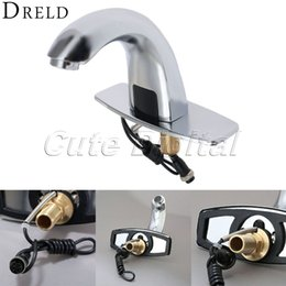 Wholesale Automatic Mixer Faucet - Wholesale-Automatic Electronic Hands Free Bathroom Faucet Basin Cold Water Touchless Mixer Sensor Tap Infrared Brass Basin Sensor Faucet