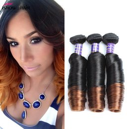 tone ombre curly hair weave Promo Codes - Ishow Hair T1B 4 27 Tone Ombre Malaysian Bouncy Curly Hair 3Bundles 12-24 inch Brazilian Indian Peruvia Human Hair Extensions Free Shipping