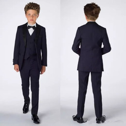 Wholesale Purple Pinstripe Pants - Smart Teens Tuxedo Custom Made Children Party Formal Pant Suits Dinner Suits Wedding Groom Tuxedos For Boys(Jacket+Pants+Vest+Bowtie)