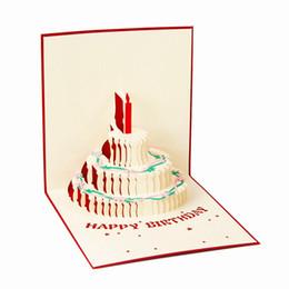 Всплывающая карта торта онлайн-3D всплывающее Поздравительная открытка ручной работы с Днем Рождения Пасха День Святого Валентина торт свеча приглашение подарочные карты партии праздничные поставки