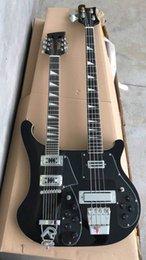 2019 coude électrique à 12 cordes Wholesale Double Necks Rickenbacke 4003 4 cordes basse électrique + guitare électrique 12 cordes de qualité supérieure noire 180720 coude électrique à 12 cordes pas cher