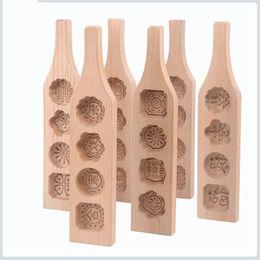 Mooncake werkzeuge online-1 Stücke Holz MoonCake Mold 3D Blume Fondant Kuchen backenwerkzeuge Keks Kekse Form Presse Muster Küche Zubehör