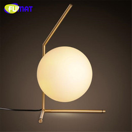 Wholesale Glass Dining Tables - FUMAT Milky Glass Ball Gold Metal Modern Style Table Lamp Dining Room Cafe Decoration Light Studio Light Bedroom Light Free Shipping