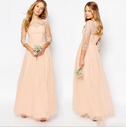 Wholesale Peach Tulle Wedding Dresses - 2018 Cheap Peach Pink Bridesmaid Dress Lace Appliques Bateau Neck 3 4 Long Sleeves A Line Formal Prom Party Wedding Guest Gowns Custom