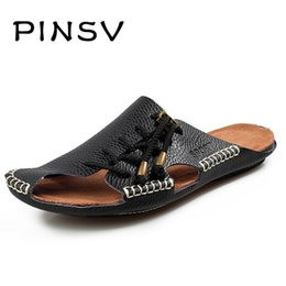 Wholesale Colour Ties - 4 Colours Leather Sandals Men Summer Shoes Brand Beach Slippers Men Sandals Black Slippers Zapatillas Hombre PINSV