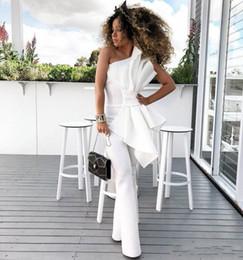 Winter weiße frauen overalls online-Weinlese-eine Schulter-weiße Frauen-Overall-Abschlussball-Kleider 2018 mit großem Bogen-formalem Partei-Abend-Kleid-nach Maß Anlass-Kleid