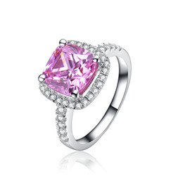 Wholesale White Gold Cushion Diamond Ring - Halo Style Cushion Cut Wholesale 1 ct Pink SONA Synthetic Diamond Ring For Women Sterling Silver Jewelry Fine 18K White Gold Plated