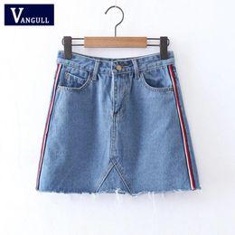 Wholesale ladies denim skirt mini - Vangull eleside striped patchwork denim skirts New vintage tassel faldas European style ladies basic summer mini skirts