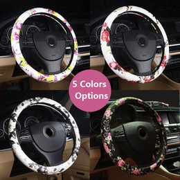 Wholesale Estilo chino Peony Floral Print Car volante cubierta cuero cm Universal Auto Styling para mujeres niñas