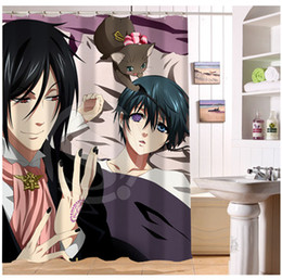 Wholesale Japanese Anime Fabrics - U412-63 Custom Home Decor famous Japanese Anime black butler Fabric Modern Shower Curtain European Style bathroom Waterproof