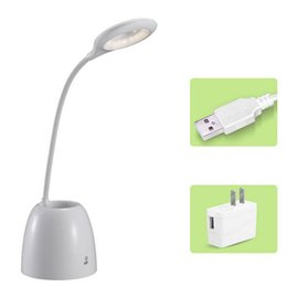 Wholesale table lamps rechargeable batteries - Adjustable Eye Protection USB LED Flexible Table Light Desk Light With Touch Sensor Reading Lamp With Pencil Holder And US Plug