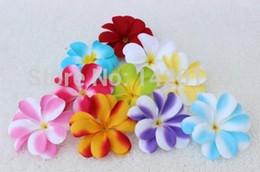 Wholesale Yellow Hawaiian Flowers - Wholesale-100Pieces 7.5cm Hawaiian Plumeria Frangipani Artificial Lint Flower Heads Wedding Decoration