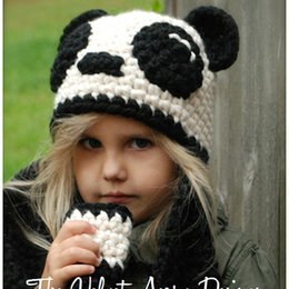 Cappelli invernali panda online-Panda Baby Hats Lovely Infant Toddler Girl Boy Kids Panda Beanie Cap Warm Baby Hat Panda Knitted Hood Scarf Autumn Winter Christmas Gift