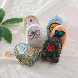 Sac de messager papillon en Ligne-Nouveaux Enfants Enfants Cadeaux de noel emoji rose gateau glace papillon fleur sequins sacs a main ecouteurs lignes de stockage sacs Mini portefeuille