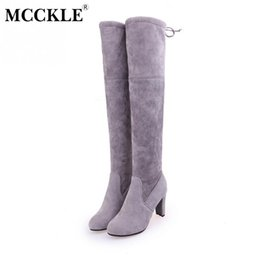 Wholesale thigh high wedges boots - MCCKLE 2017 Female Winter Thigh High Boots Faux Suede Leather High Heels Women Over The Knee Botas Mujer Shoes Plus Size 34-43