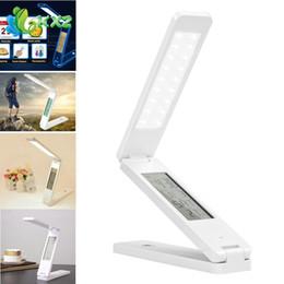 Wholesale Calendar Lamp - Dimmable LED Desk Lamps Foldable Rechargable Reading Table Lamp Light Touch Control Calendar Alarm Clock Temperature Lamp