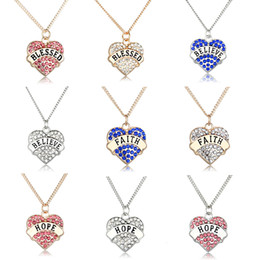 Wholesale Blessing Design - Letter Sign Necklaces For Women Blue Crystal BLESSED BELIEVE FAITH Gifts Heart Shaped Rhinestone Pendants HOPE Letter Design Jewelry